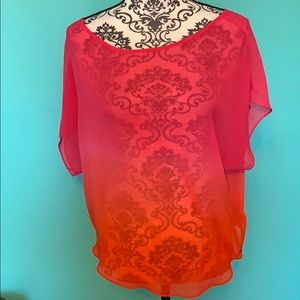 Guess Los Angeles Ombré Sheer Night Out Blouse Top